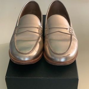 J.Crew Leather Penny Loafer in Metallic